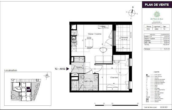 Vente appartement 2 pièces 43,33 m2