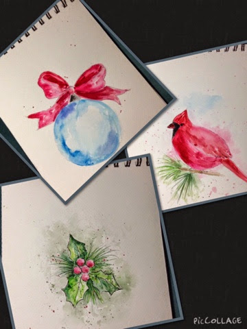 Laurie 39 s charming designs hand painted watercolor for Painted christmas cards