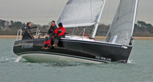 J/95 shoal performance cruiser- sailing upwind in United Kingdom