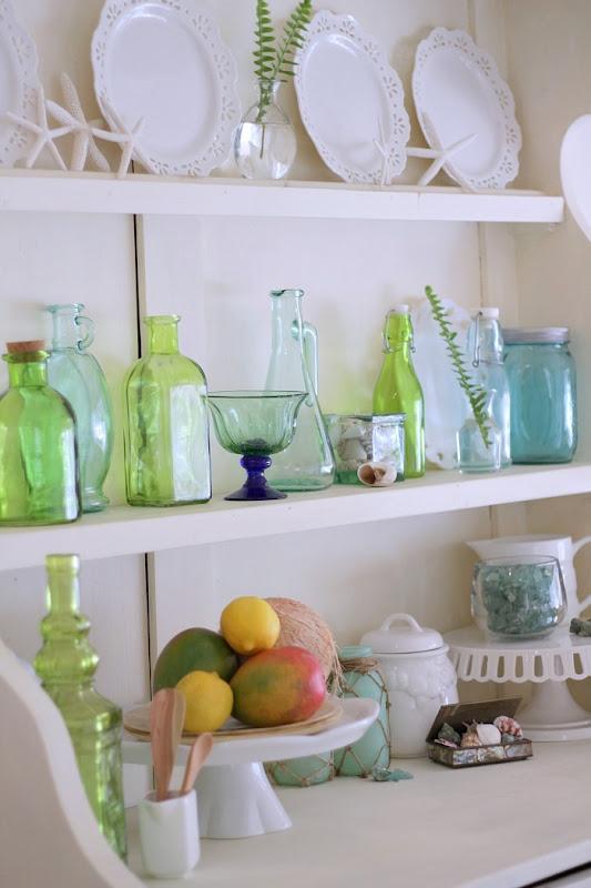Green Glass Decor Hutch Shelves