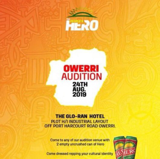 the people's hero audition owerri, hero owerri audition venue, sd news blog, latest giveaways in Nigeria, how to get rich quick, the people's hero, entertainment, top Nigerian lager beer, best alcoholic drink Nigeria, Nigerian news, 2019 singing auditions, acting auditions