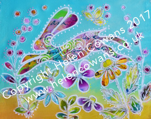 Hare on Canvas with flowers copyright