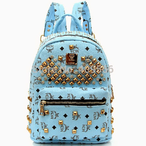 Fashion Girls PU Rivets Backpack Students School Bag Ca