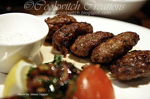 Kofte (grilled minced lamb served on garlic yoghurt, with flat bread) at Ishtar, Marylebone