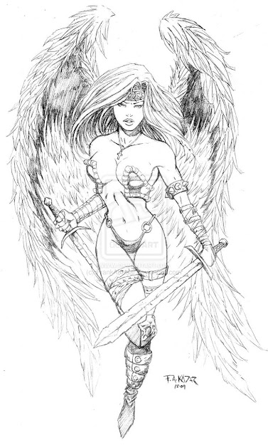 Fantasy Warrior Coloring Pages  Images Of Angel Warrior Tattoo Design By  Frankakadar On Deviantart