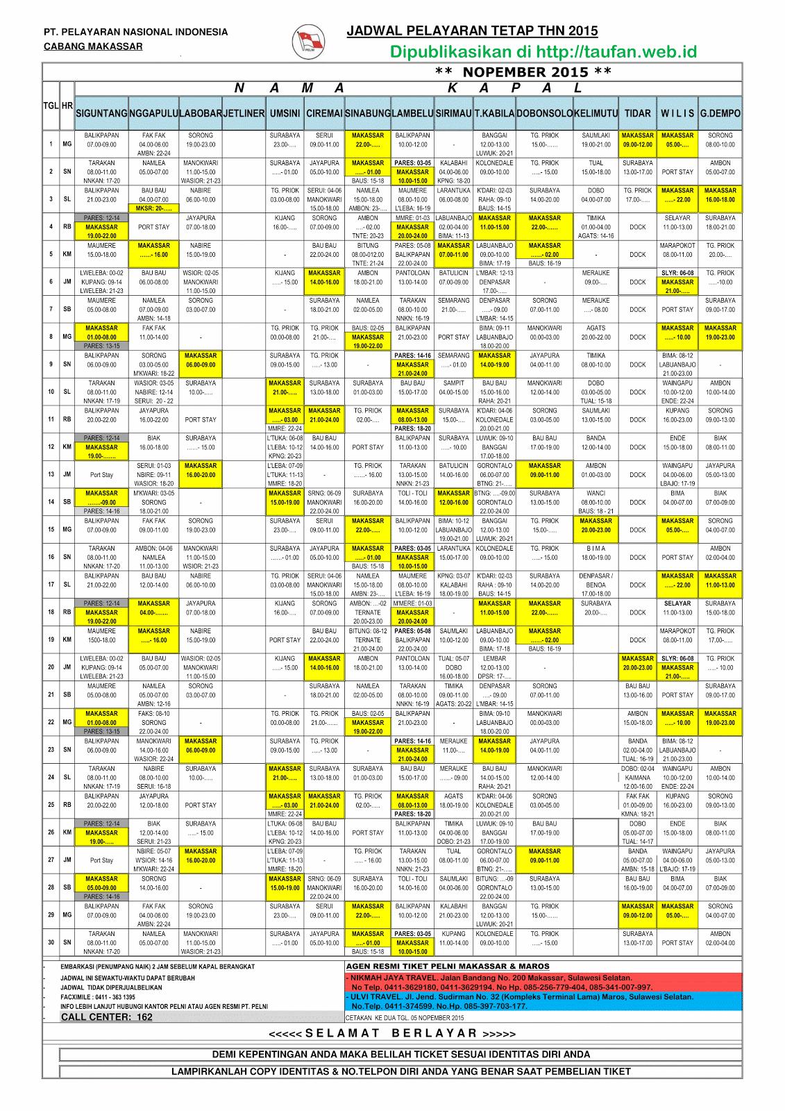 Jadwal Kapal Pelni Bulan Nopember 2015