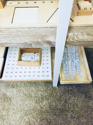 Montessori Math Shelves with Montessori Hundred Board and Extension work
