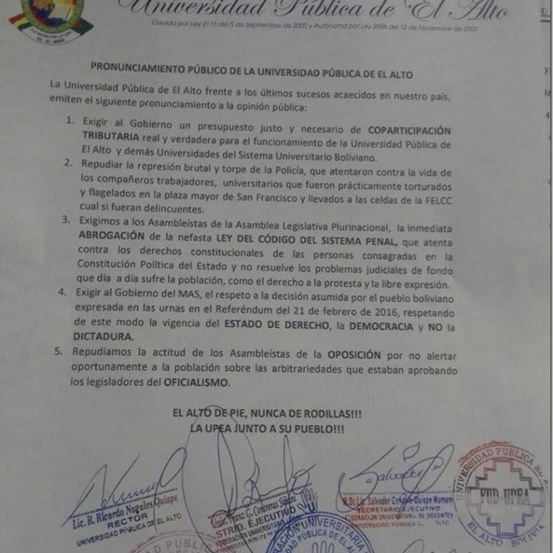 Pronunciamiento de la UPEA por más coparticipación tributaria y exigiendo a abrogación del Código Penal