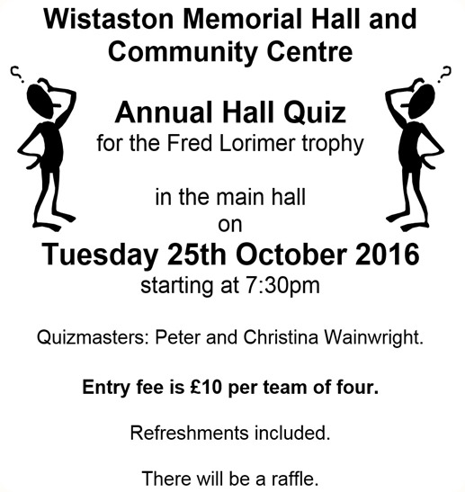 Annual Hall Quiz - Tues 25-10-16