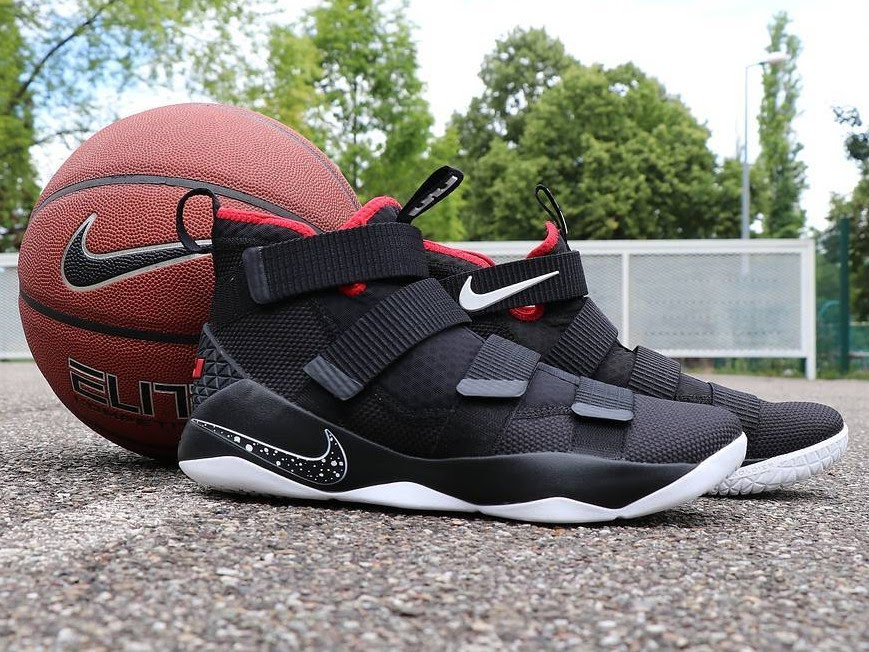 new arrival f11df c40ea Available Now Nike LeBron Soldier 11 Black and Red ...
