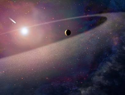 ilustração de um cometa caindo numa anã branca