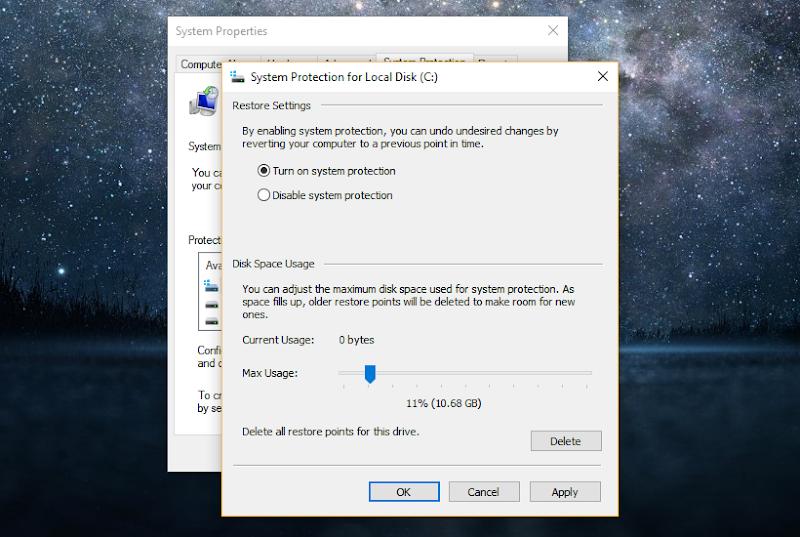 mengaktifkan system restore di windows 10 02