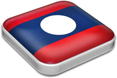 Flag of Laos with metallic square frame