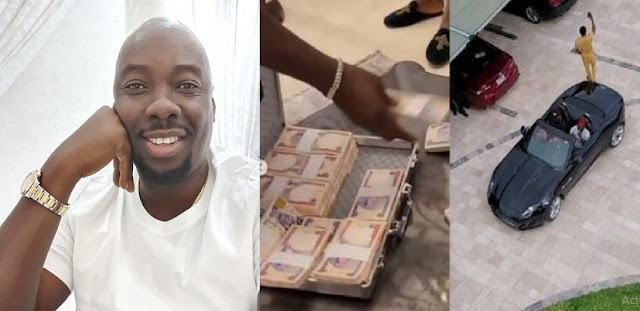 Man Visits Obi Cubana in Abuja, Gifts Him Suitcase of Massive Money (Video)