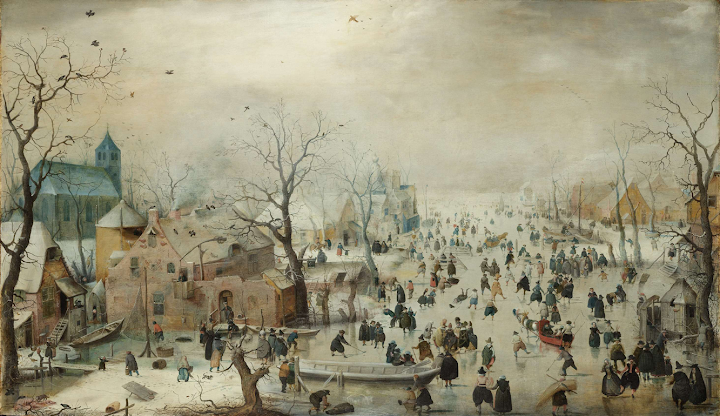 Winter Landscape with Skaters, Hendrick Avercamp, ca 1608