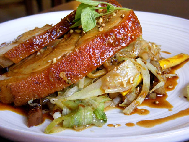 Roast pork and stir-fried vegetables in a restaurant, Indre et Loire, France. Photo by Loire Valley Time Travel.