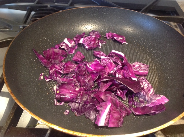 purple cabbage in a skillet