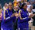 Jantel Lavender #42, DeLisha Milton-Jones #8 enjoy the pregame festivities.  (WNBA Western Conf. Finals GM 2, Los Angeles Sparks 79 vs. Minnesota Lynx 80, Staples Center, Los Angeles, CA. October 7, 2012.)