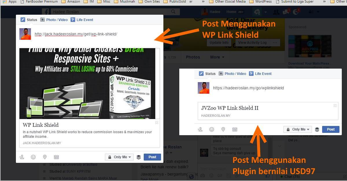 JV Zoo Link Post di Facebook Dengan WP Link Shield