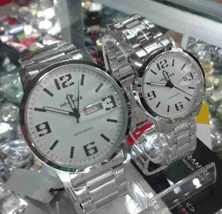 jam tangan couple Hegner date day full silver