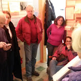 "January 2016, Helen Jane Peters shares ""Sylvan Lake Pewabic Connection"" with open house guests."