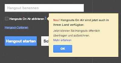 Hangouts on Air endlich in Ihrem Land verfügbar