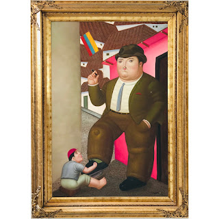 Signed 'Rotero' Botero Homage Painting