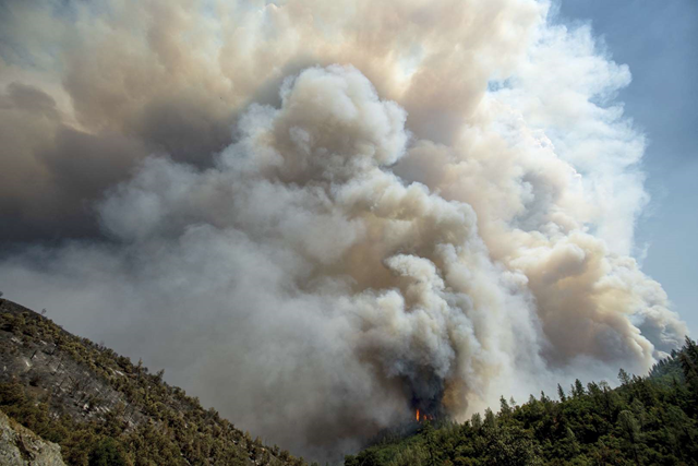 The Carr Fire sends a plume of smoke into the sky above Whiskeytown, California, on 27 July 2018. Photo: Noah Berger / AP Photo