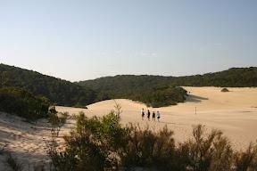 Hiking across sand dunes to Lake Wabby