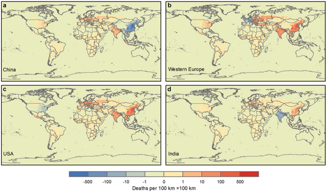 Differences in worldwide premature mortality in 2007 between production- and consumption-related PM2.5 air pollution. a–d, Maps show the number of deaths worldwide related to consumption in the given region minus the number of deaths worldwide related to production in that region, for China (a), western Europe (b), the USA (c) and India (d). Graphic: Zhang, et al., 2017 / Nature