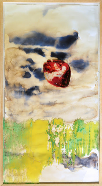 El corazón no se atreve a creer…, pintura mixta de ángels gonzález