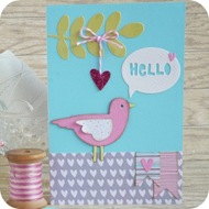 29 - fustelle craft asylum - big shot sizzix - card uccellino ramo