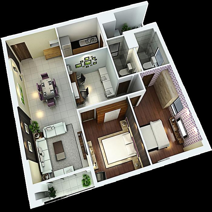 căn hộ 96,54m² - 2 Phòng ngủ