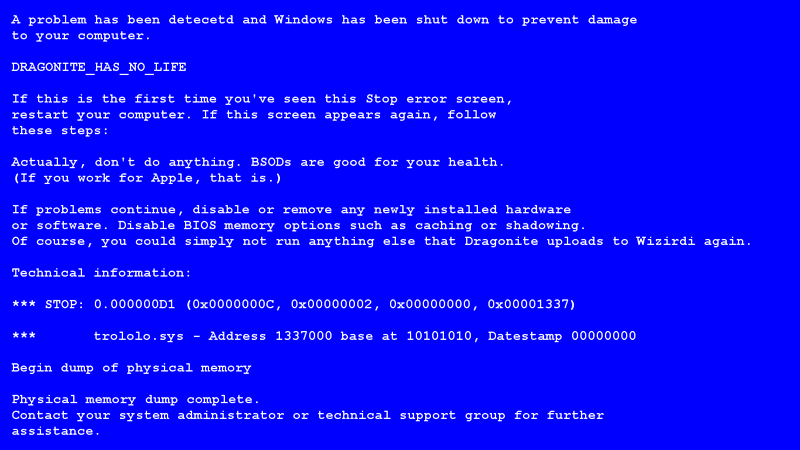 fake blue screen death