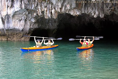 Kayaking in Halong Bay is the best way to explore the breathtaking beauty of Halong Bay. Paddle through islets; visit hidden caves, lagoons, unspoiled beaches and floating fishing villages… More information at http://www.reddragoncruise.com/services/kayaking