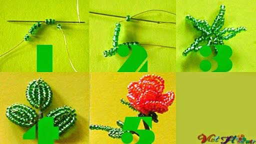 Xâu lá và đài hoa hồng từ hạt cườm