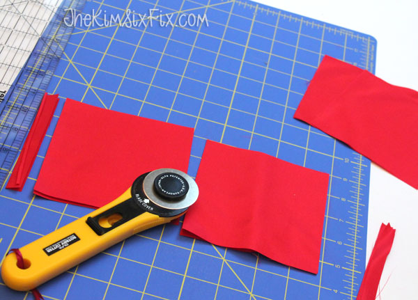 Cutting fabric into squares