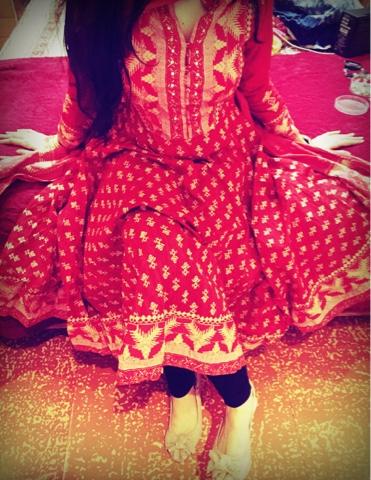 Biba Red Cotton Asymmetric Suit Set