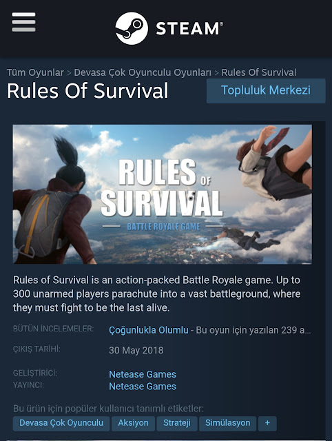 Rules of Survival Steam Versiyonu Çıktı