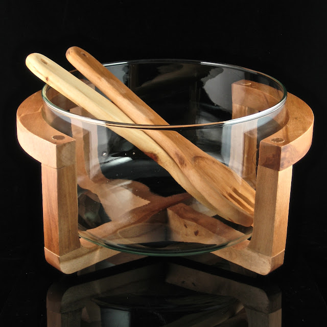 Wooden Salad Bowl With Stand Wooden Bowl Stand Mid Century