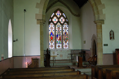 Triple-light East stained glass window