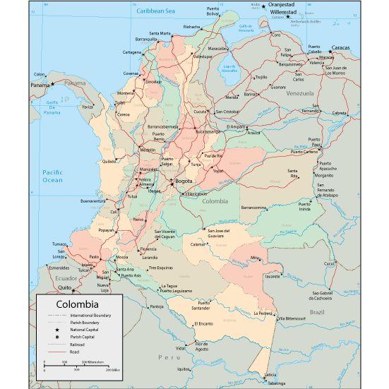 Mapa politico de Colombia con sus departamentos y Capitales8
