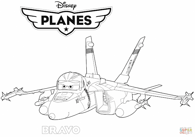 Click The Disney Planes Jet Fighter Bravo Coloring Pages