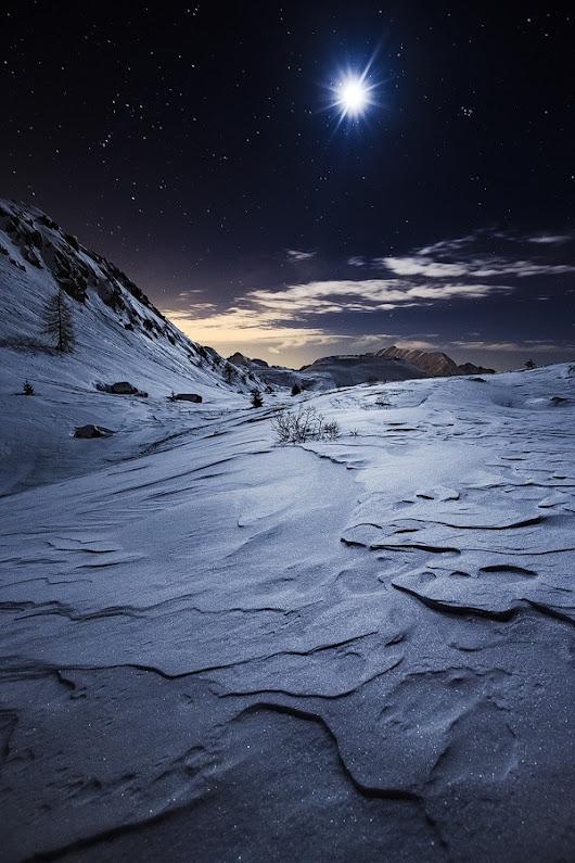 Stellar Moon (by Davide Arizzi) #travel #landscape #nature #night #snow #wi...