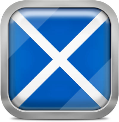 Scotland square flag with metallic frame