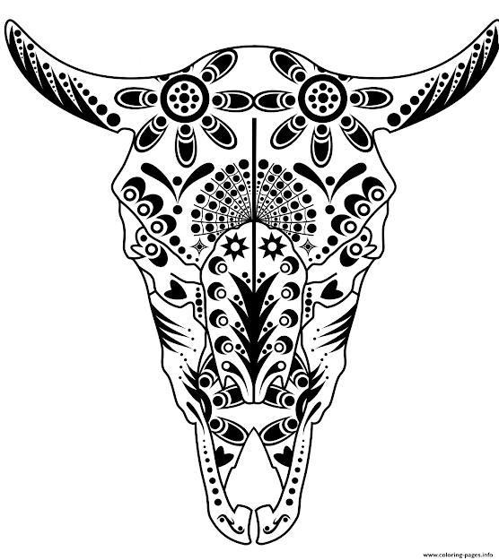 Print Cow Sugar Skull Pitbull Advanced Calavera Coloring Pages