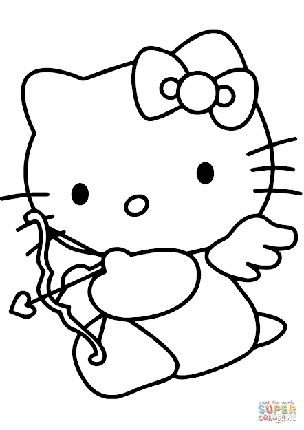 Click The Hello Kitty Valentines Day Cupid Coloring Pages To View  Printable Version Or Color It Online Patible With Ipad And Android  Tablets