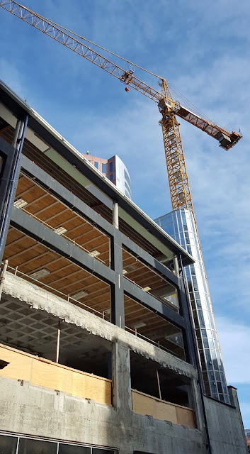 Photo of crane next to Boulcott Street (Wellington, NZ) building