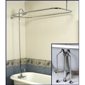Complete Chrome Add On Shower Combo Set For Clawfoot Tub Faucet Riser Sho