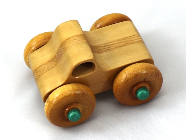 Handmade Wood Toy Play Pal Monster Truck Laminated Oak and Poplar Amber Shellac Metallic Green Hubs